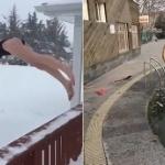 【動画】あまりの寒波・雪・氷で気が動転して、奇行に走るお姉さんとおじさん! [海外]