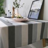 『テーブルクロス紹介NO.5 グレーとベージュのストライプ』の画像