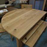 『【限定特価】飛騨産業の森のことばシリーズの半円形テーブル・SN390WP』の画像