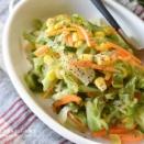 【レシピ・作り置き・副菜】給食の味!春キャベツとコーンのフレンチサラダ