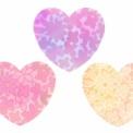 手描き花模様の水彩風ハートイラスト3種