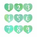 手描き数字が白抜きされたハート素材 緑