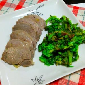 塩漬け豚と菜の花のニンニク炒め