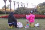 私市植物園で2人の女の子が『お絵かき』してた!