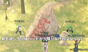 岩を調べるにはペットから降りなければならない。