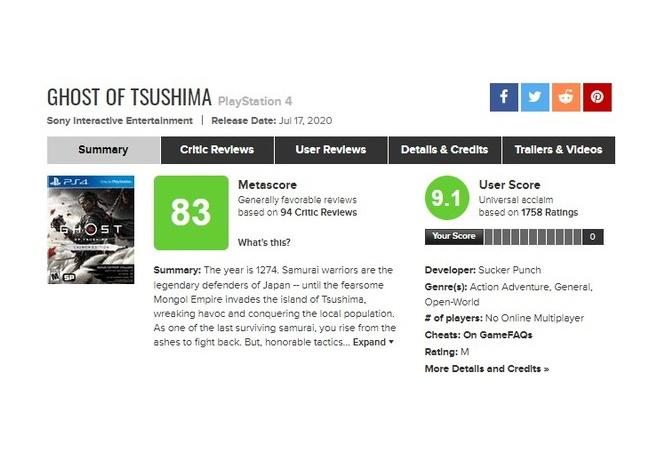 【朗報】ゴーストオブツシマさん、ユーザースコアが90点超える