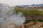 逢合橋近く、砂子坂交差点のところで焼畑やってた!~葉っぱが燃える煙がどことなく懐かしい~