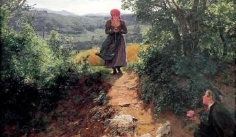 150年前の絵画にスマホを見ながら歩く女性の姿が描かれていた!