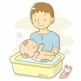 『【クリップアート】赤ちゃんをお風呂に入れるお父さん』の画像