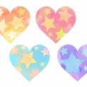 星模様の手描きハート素材 オレンジ・ピンク・水色・紫