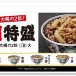 『本日より吉野家の牛丼の超特盛と小盛が新発売!』の画像