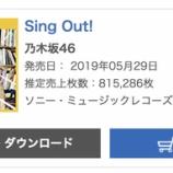 『【乃木坂46】『Sing Out!』初日売り上げは815,286枚でオリコン1位を獲得!!キタ━━━━(゚∀゚)━━━━!!!』の画像