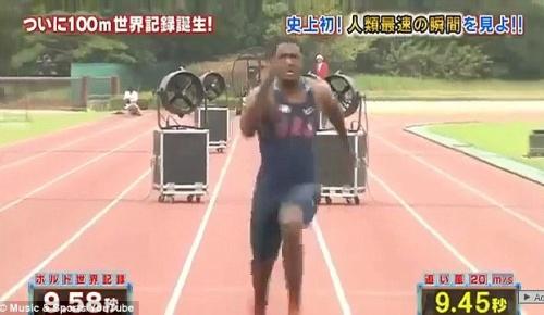 ガトリンが日本のテレビ番組で100m走の(追い風20m非公認)世界記録を達成 【海外の反応】
