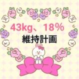 『体重43kg台維持、体脂肪率18%台維持【計画&実行へ】』の画像