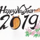 『筆ペンと色鉛筆で簡単に描く【2019年亥年の年賀状】』の画像