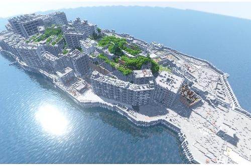 マインクラフトで1/1スケールの軍艦島が作られる これある意味ガイジだろのサムネイル画像