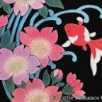 レディース和柄長袖Tシャツ/流水桜金魚