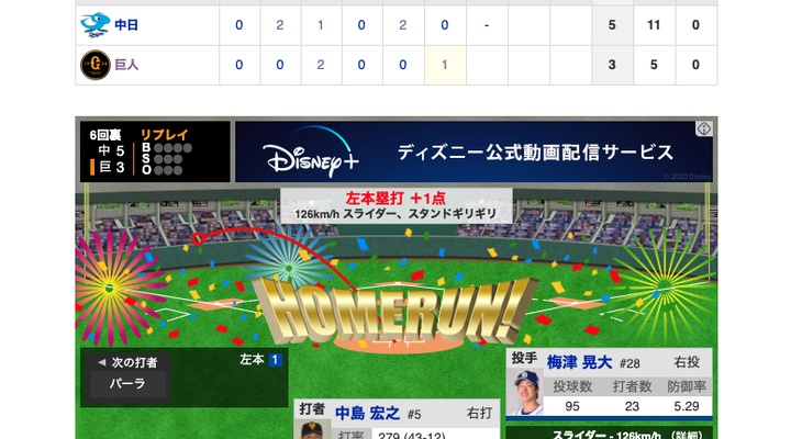 【動画】<巨人vs中日 3回戦> 巨人・中島が第2号ソロ!【巨3-5中】