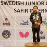 『張本美和選手 ITTFジュニアサーキット・スウェーデンオープン』の画像