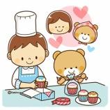 『【クリップアート】お菓子作り・カップケーキを作る男の子とクマ』の画像