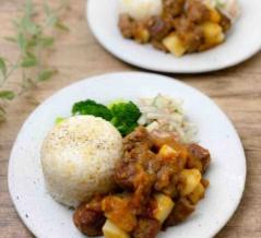 【レシピ】合挽き肉サイコロステーキのオニオンソース