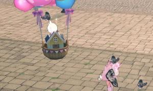 モンキーヘルメットがハウス熱気球を見上げる