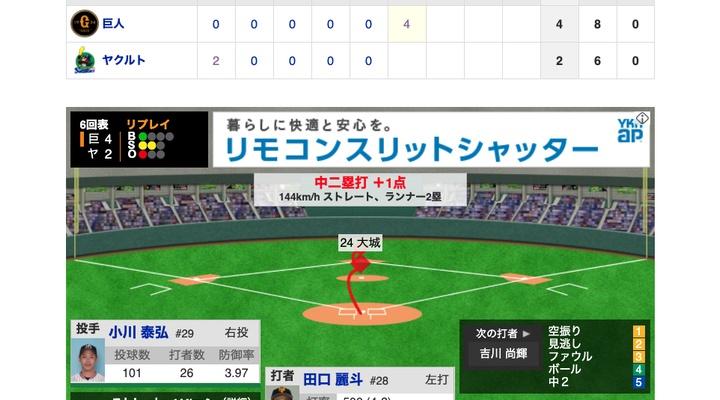 【動画】打者・田口、タイムリー2ベースwww【巨4-2ヤ】