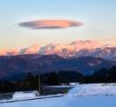 乗鞍岳にUFO?撮影者も驚き 強風で現れたレンズ雲