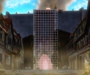 超大型巨人がトロスト区に開けた壁の大穴のサイズを計測。