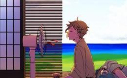 【刀剣乱舞】扇風機の前で涼む鶯丸と、順番待ちで…ごろーんとしている御物組