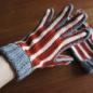 №164-1 2012年末のシマシマかぎ編み手袋 赤