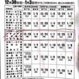 『戸田市年末年始のごみ収集、地域別の終了日と開始日です。12月30日から1月3日の収集はありません。』の画像
