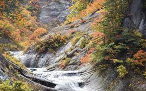 秋田県の山中を流れるウサギ滝