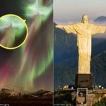 【画像】アイスランド、夜空のオーロラの中からイエス・キリストが出現!