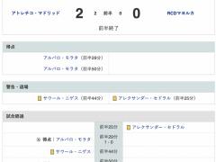 【マジョルカ vs アトレティコ】前半終了!モラタがやり直しPK & 終了間際のゴールで2得点…【久保スタメン】