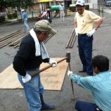 『戸田市鍛冶谷町会で盆踊りの櫓組みをやりました(上戸田氷川神社西隣・鍛冶谷町公園)』の画像