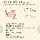 『57.1kg。合計1.3kg減量。1191kcal。6日目』の画像