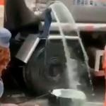 【動画】中国、タンクローリー事故でガソリン流出!住民やってきてガソリン略奪開始