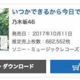 『【乃木坂46】『いつかできるから今日できる』初日売り上げは682,552枚でオリコン1位を獲得!!!!』の画像