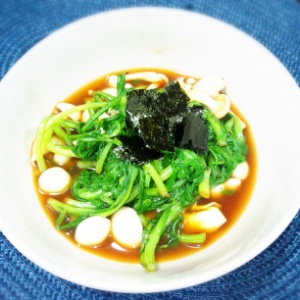 春菊とプナピーの酢醤油和え