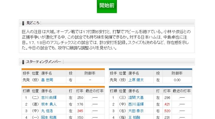 【 巨人実況!】<オープン戦> vs 日本ハム!先発は畠!捕手は小林!13:00~