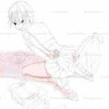 『女子高生の線画_(ラフ』の画像