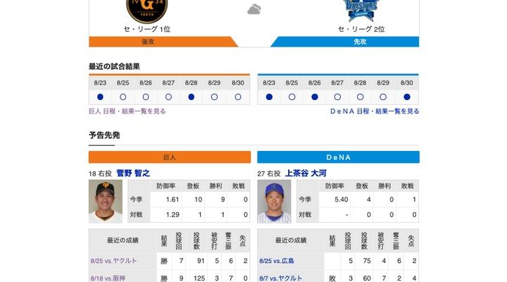 【巨人実況!】vs DeNA(10回戦)![9/1] 先発は菅野!3番亀井、7番大城、8番吉川!