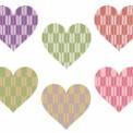 矢絣模様のハートマーク 赤茶色や紫色など6色
