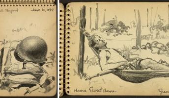 【WW2】絵の才能で戦場を生き延びた兵士!貴重な戦場の日常スケッチが公開