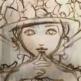 リボンとぬいぐるみの帽子、油絵の過程